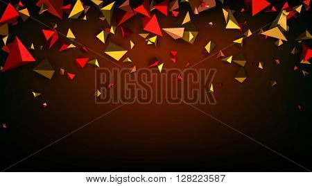 Brown abstract banner with 3d figures. Vector illustration.