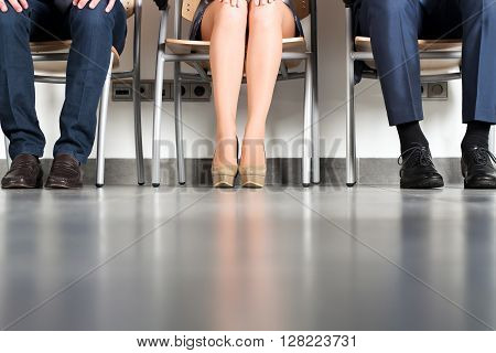 Stressful business people waiting for job interview
