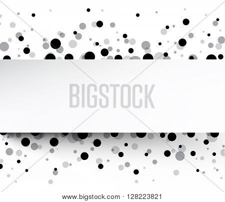 White background with drops. Vector paper illustration.