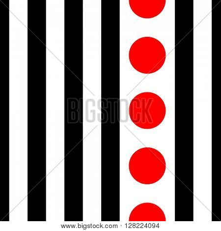 Seamless Vertical Stripe and Circle Pattern. Vector Black and Red Background