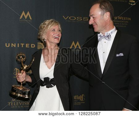 LOS ANGELES - MAY 1:  Mary Beth Evans, Michael Schwartz at the 43rd Daytime Emmy Awards at the Westin Bonaventure Hotel  on May 1, 2016 in Los Angeles, CA