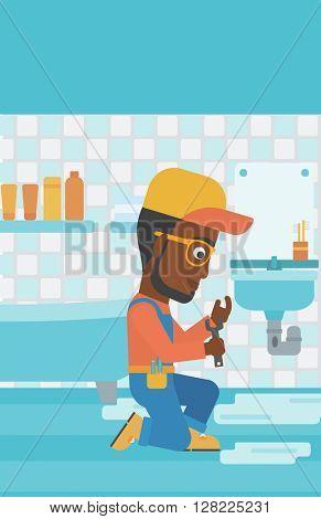 Man repairing sink.