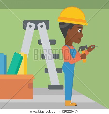 Constructor hammering nail.