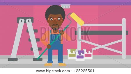 Painter with paint roller.
