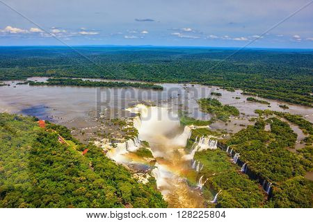 Devil's Throat - largest waterfall  of the Iguazu River in South America. Picture taken from a helicopter