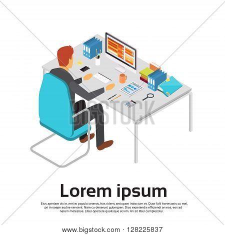 Business Man Work Computer Desktop Workspace 3d Isometric Vector Illustration
