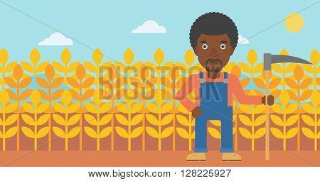 Farmer on the field with scythe.