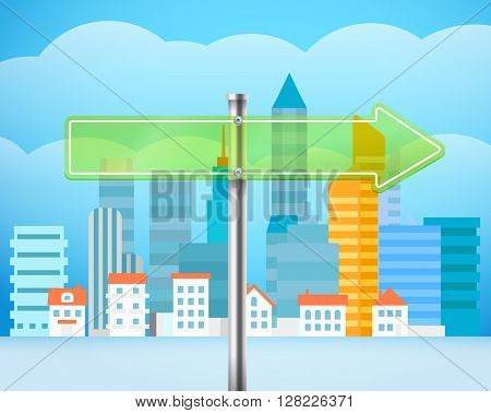 Cityscape with the glass board. City traffic illustration. Direction to the right