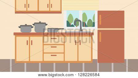 Background of kitchen with kitchenware.