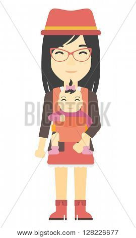 Woman holding baby in sling.