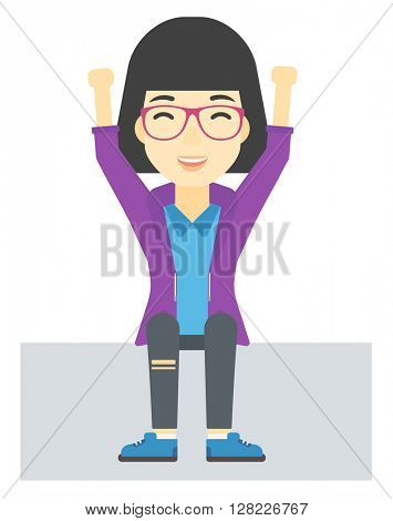 Woman sitting with raised hands up.