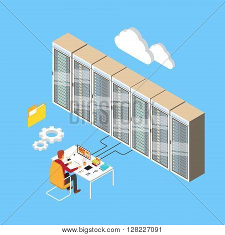 Man Working Data Center Technical Room Hosting Server Database   Isometric Vector Illustration