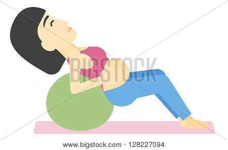 Pregnant woman on gymnastic ball.