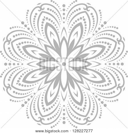 Oriental vector pattern with arabesques and floral elements. Traditional classic pattern. Retro style pattern. Gray pattern. Round pattern. Silver round pattern. Light silver pattern