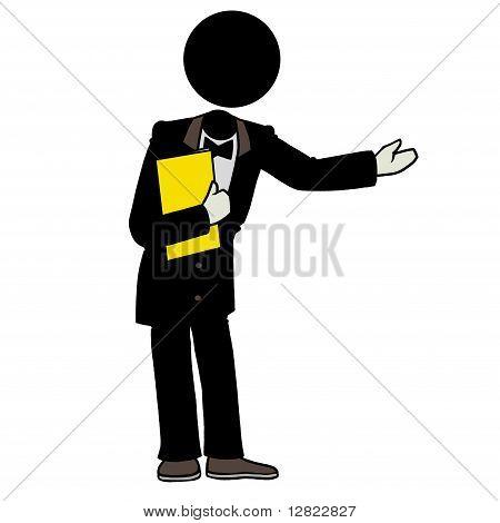 Silhouette-man waiter