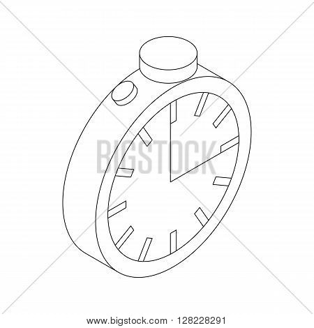 Stopwatch icon in isometric 3d style on a white background