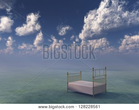 Single bed in dreamlike setting 3D Render