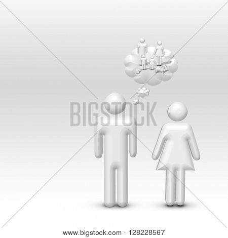 Man Imagines Family 3D Render