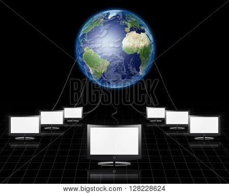 World Wide Web Flat Panel Connected Elements of this image furnished by NASA