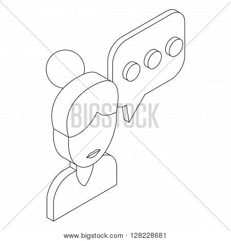 Female consultant and speech bubble with three dots icon in isometric 3d style on a white background