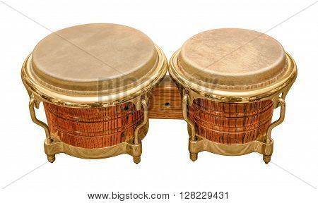 pair of wooden bongo drums in white back