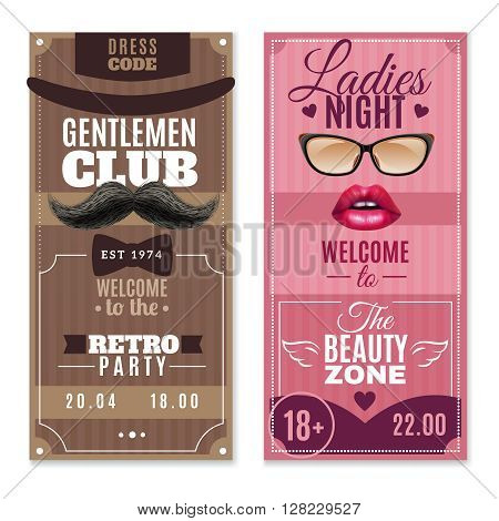 Gentlemen club retro party and ladies beauty zone night 2 flat posters set abstract vector illustration poster