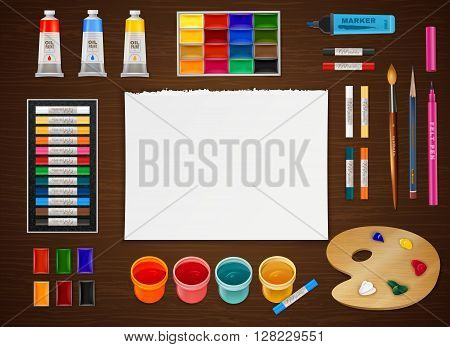 Artistic design concept with clean paper sheet in center and different art supplies in realistic style around at wooden easel vector illustration