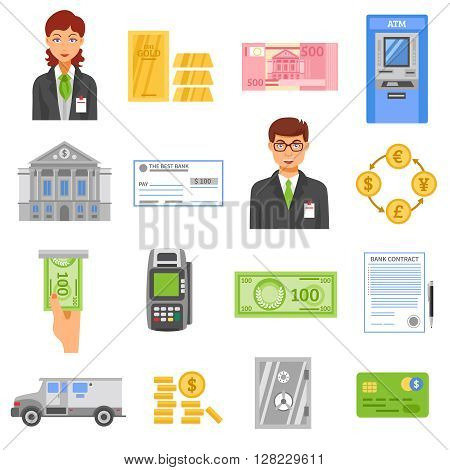 Bank flat color icons set of coins safe box armored truck contract page bank building isolated vector illustration
