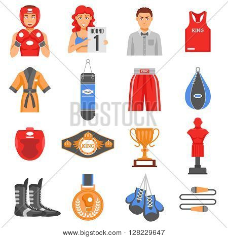 Boxing ammunition flat color icons set  of clothes elements training equipment and championship prizes isolated vector illustration