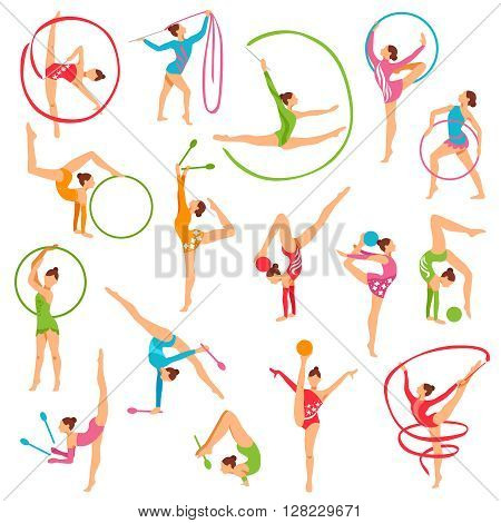 Set of color girl figures performing gymnastic exercises with mace hoop and tapes on white background isolated vector illustration