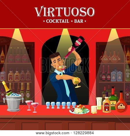 Original design flat illustration showing virtuoso barmen at cocktail bar counter vector illustration