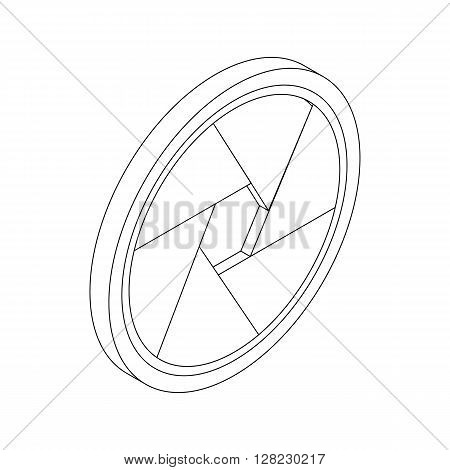 Camera aperture icon in isometric 3d style on a white background
