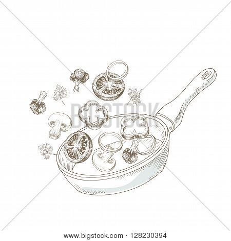 Wok cooking vegetable. Sketch wok cooking vegetable. Asian cuisine. Hand drawn vegetables on hot pan. Vector fry vegetables illustration. Cut organik vegetable. Vegetarian and vegan food.