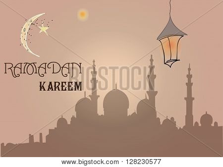 Creative greeting card design for holy month of muslim community festival Ramadan Kareem with moon and hanging lantern, stars on beige background.