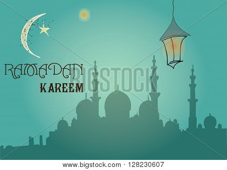 Creative greeting card design for holy month of muslim community festival Ramadan Kareem with moon and hanging lantern and stars on green background.
