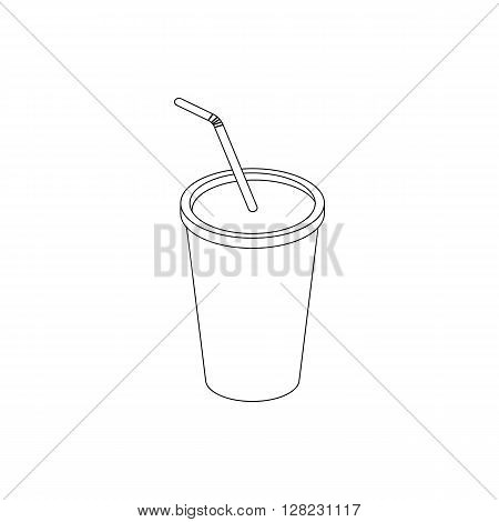 A soft drink in paper cup with lid and straw icon in isometric 3d style on a white background