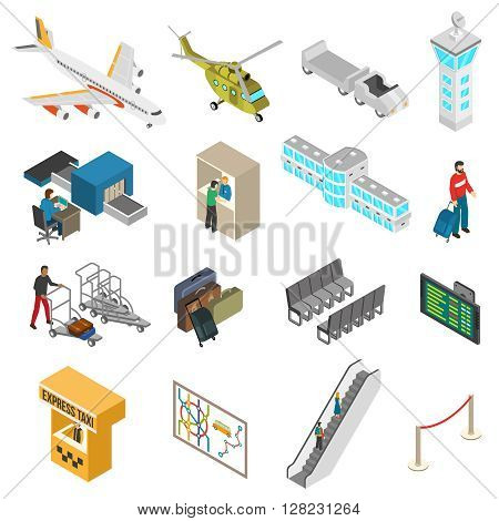 Isometric icons set of different airport elements from airplane and terminal to passenger and taxi isolated vector illustration