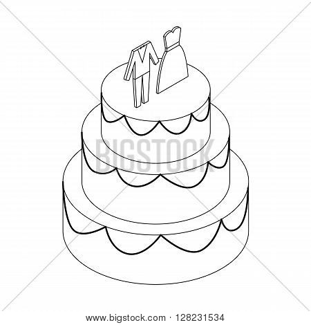 Wedding cake with figurines of  bride and groom icon in isometric 3d style on a white background