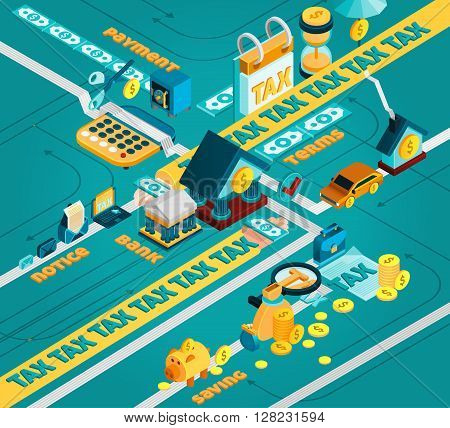 Tax isometric concept with tax calculation and payment symbols vector illustration
