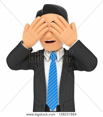 3d business people. Businessman covering his eyes. Isolated white background.
