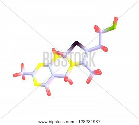 Thiamine or thiamin or vitamin B1 is a water-soluble vitamin of the B complex. 3d illustation