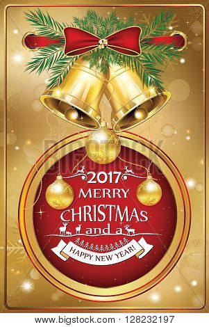Corporate Christmas and New Year card 2017 Contains baubles, golden ribbon, pine branches, jingle bells. Print colors used; custom size of a printable greeting card.