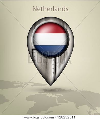 metal map marker steel with glare and shadows netherland