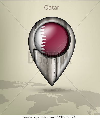 metal map marker steel with glare and shadows qatar