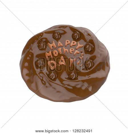 Happy mother's day chocolate cake. 3D illustration.