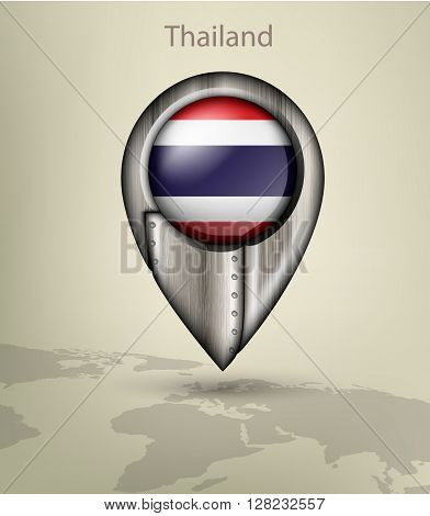 metal map marker steel with glare and shadows thailand