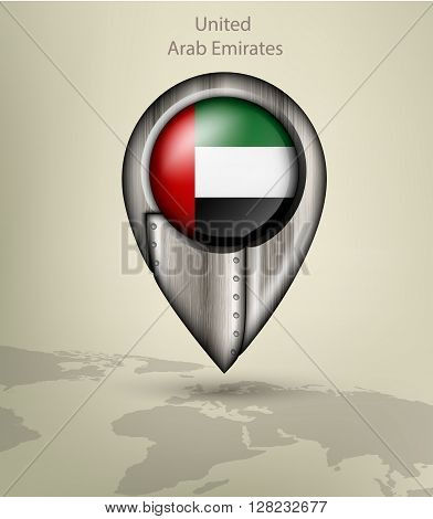 metal map marker steel with glare and shadows united arab emirates