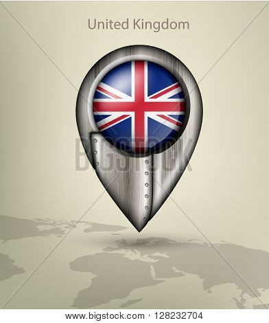 metal map marker steel with glare and shadows united kingdom
