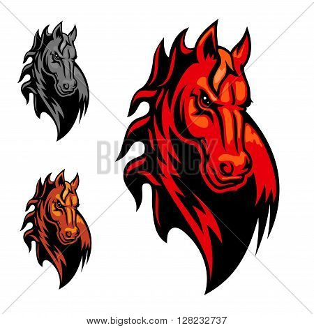 Wild cartoon mustang or stallion for mascot or tattoo design. Horse head for equestrian sport theme