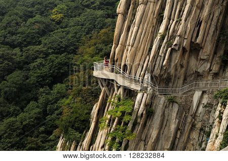 The cliff walkway on Mount Song (songshan) located within the Shaolin Temple Scenic Area near Dengfeng City in Henan province China.